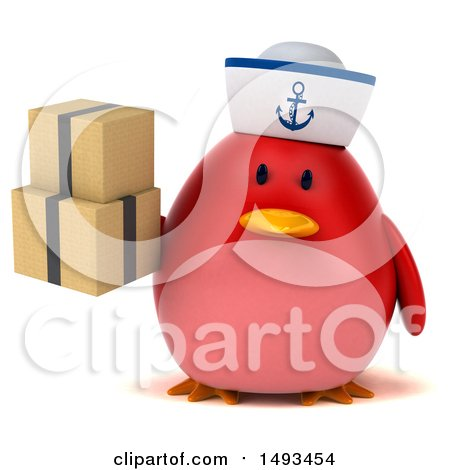 Clipart of a 3d Chubby Red Bird Sailor Holding Boxes, on a White Background - Royalty Free Illustration by Julos