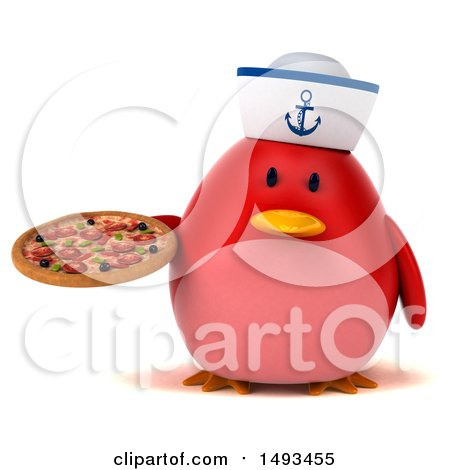 Clipart of a 3d Chubby Red Bird Sailor Holding a Pizza, on a White Background - Royalty Free Illustration by Julos