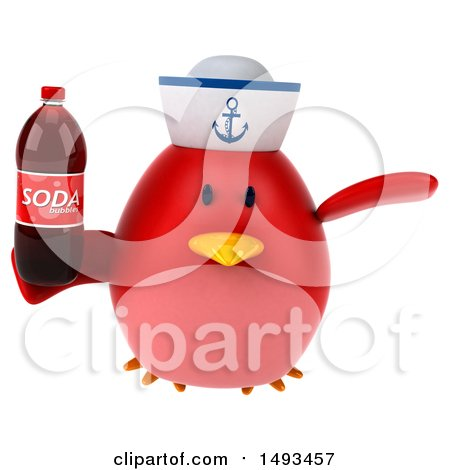 Clipart of a 3d Chubby Red Bird Sailor Holding a Soda, on a White Background - Royalty Free Illustration by Julos