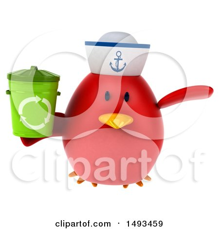 Clipart of a 3d Chubby Red Bird Sailor Holding a Recycle Bin, on a White Background - Royalty Free Illustration by Julos