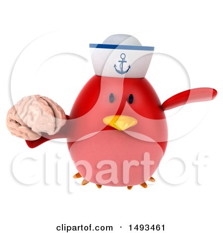 Clipart of a 3d Chubby Red Bird Sailor Holding a Brain, on a White Background - Royalty Free Illustration by Julos