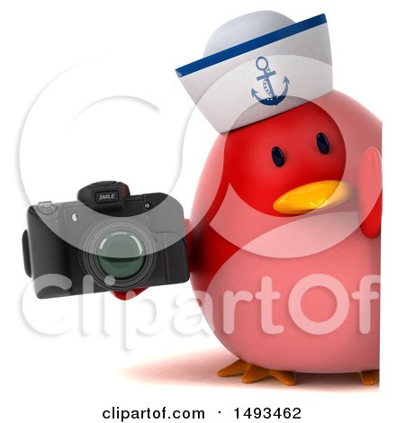Clipart of a 3d Chubby Red Bird Sailor Holding a Camera, on a White Background - Royalty Free Illustration by Julos