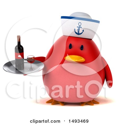 Clipart of a 3d Chubby Red Bird Sailor Holding a Wine Tray, on a White Background - Royalty Free Illustration by Julos