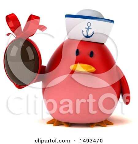 Clipart of a 3d Chubby Red Bird Sailor Holding a Chocolate Egg, on a White Background - Royalty Free Illustration by Julos