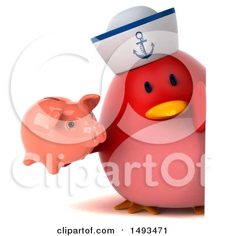Clipart of a 3d Chubby Red Bird Sailor Holding a Piggy Bank, on a White Background - Royalty Free Illustration by Julos