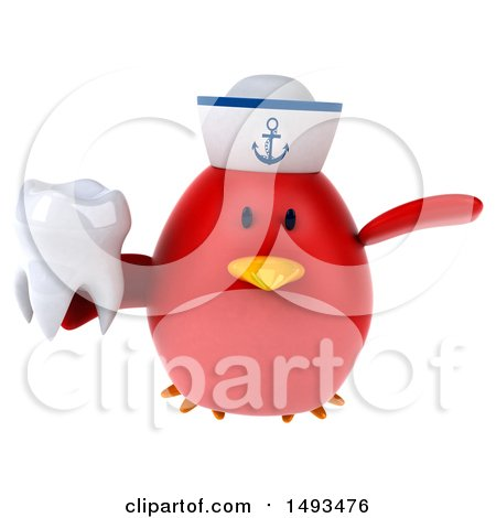 Clipart of a 3d Chubby Red Bird Sailor on a White Background - Royalty Free Illustration by Julos