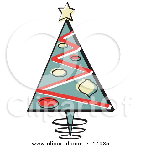 Triangular Christmas Tree With Ornaments And A Star On Top Retro Clipart Illustration by Andy Nortnik