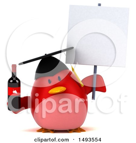 Clipart of a 3d Red Bird Graduate Holding a Wine Bottle, on a White Background - Royalty Free Illustration by Julos