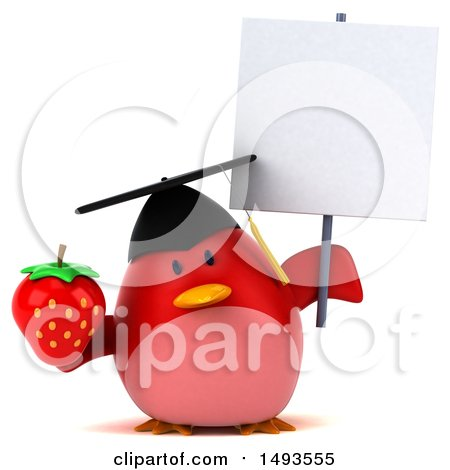 Clipart of a 3d Red Bird Graduate Holding a Strawberry, on a White Background - Royalty Free Illustration by Julos