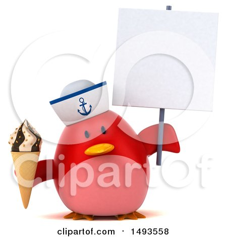 Clipart of a 3d Red Bird Sailor Holding an Ice Cream Cone, on a White Background - Royalty Free Illustration by Julos