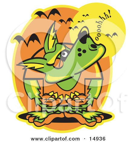 Werewolf Howling at the Moon as Vampire Bats Fly Above Clipart Illustration by Andy Nortnik