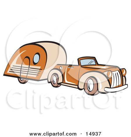 Orange Convertible Car Pulling A Trailer Clipart Illustration by Andy Nortnik