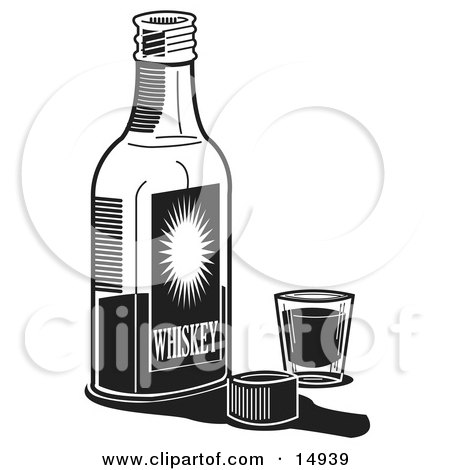 Bottle Of Whiskey By A Shot Glass In A Bar Clipart Illustration by Andy Nortnik