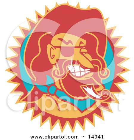Wild Bill Hickock Smiling And Wearing A Cowboy Hat Clipart Illustration
