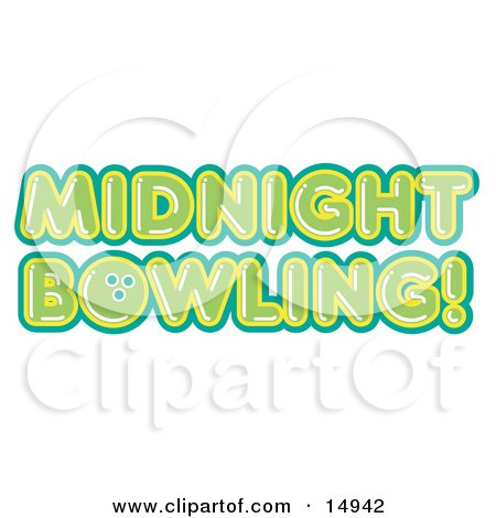 Green Midnight Bowling Sign Clipart Illustration by Andy Nortnik