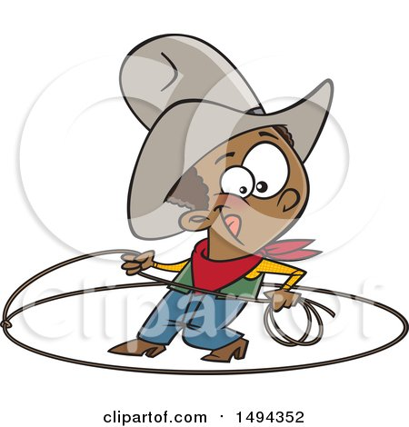 Clipart of a Cartoon African American Cowboy Roping - Royalty Free Vector Illustration by toonaday