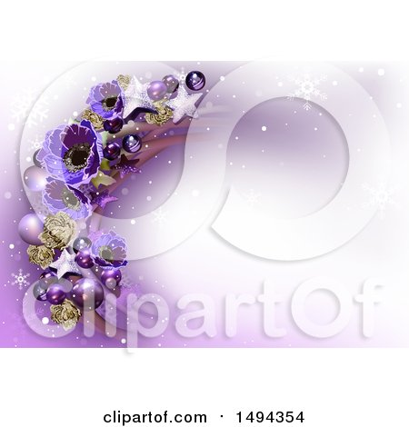 Clipart of a Purple Flower, Star and Bauble Christmas Background - Royalty Free Vector Illustration by dero