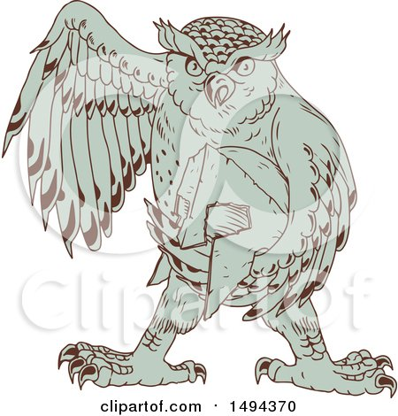 Clipart of a Sketched Great Horned Owl Holding a Spartan Helmet - Royalty Free Vector Illustration by patrimonio
