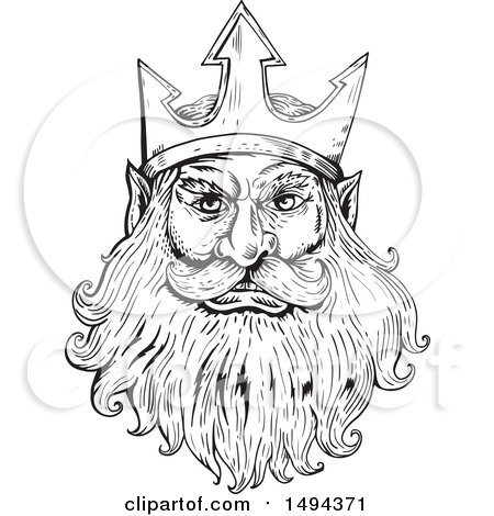 Clipart of a Black and White Sketched Head of Poseidon, Neptune or Triton - Royalty Free Vector Illustration by patrimonio