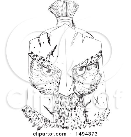 Clipart of a Sketchd Great Horned Owl Wearing a Spartan Helmet - Royalty Free Vector Illustration by patrimonio