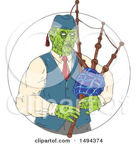 Clipart of a Zombie Piper Playing Bagpipes in a Circle, in Grime Art Style - Royalty Free Vector Illustration by patrimonio