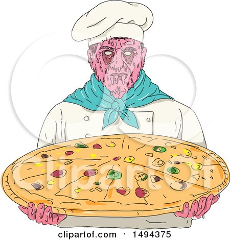 Clipart of a Zombie Chef Holding a Giant Pizza, in Grime Art Style - Royalty Free Vector Illustration by patrimonio