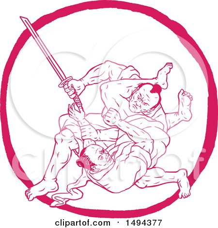 Clipart of a Sketched Scene of Samurai Warriors Jui Jitsu Fighting - Royalty Free Vector Illustration by patrimonio
