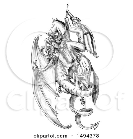 Clipart of a Scene of St George Riding a Horse and Killing a Dragon, in Tattoo Sketched Style, on a White Background - Royalty Free Illustration by patrimonio