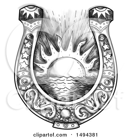 Clipart of a Horseshoe with Shining Sun and Sea in the Middle, in Tattoo Sketched Style, on a White Background - Royalty Free Illustration by patrimonio