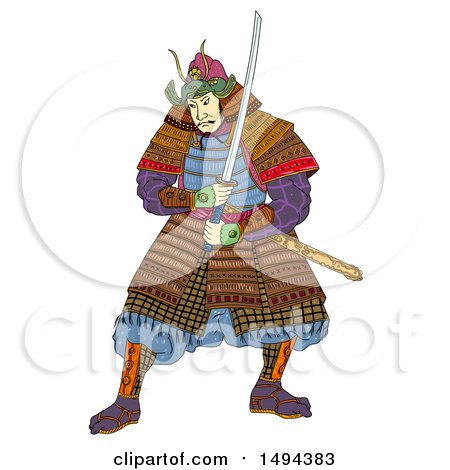 Clipart of a Japanese Samurai Warrior, in Woodcut Style, on a White Background - Royalty Free Illustration by patrimonio