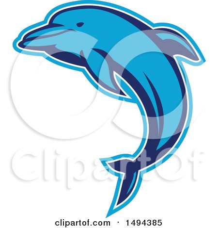 Clipart of a Jumping Blue Dolphin with an Outline - Royalty Free Vector Illustration by patrimonio