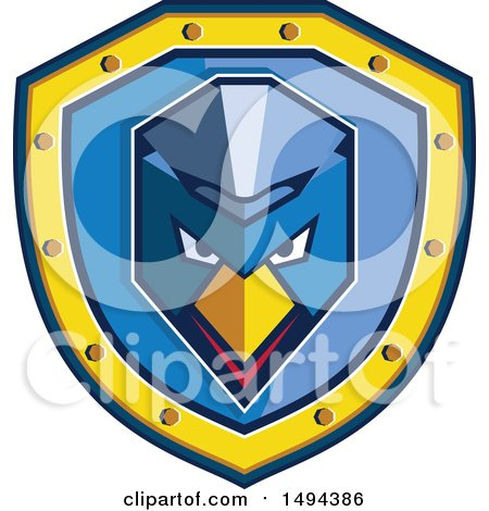 Clipart of a Geometric Blue Chicken with a Mohawk in a Shield - Royalty Free Vector Illustration by patrimonio