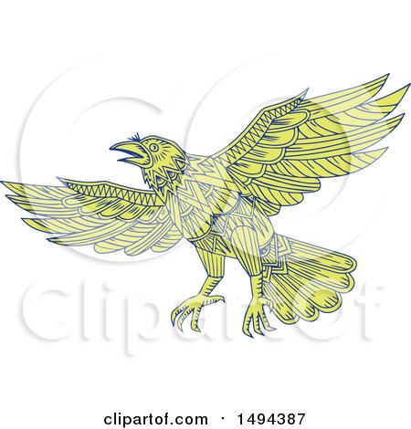 Clipart of a Mandala Styled Raven Flying - Royalty Free Vector Illustration by patrimonio