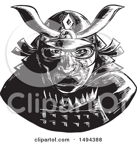 Clipart of a Black and White Samurai Warrior - Royalty Free Vector Illustration by patrimonio
