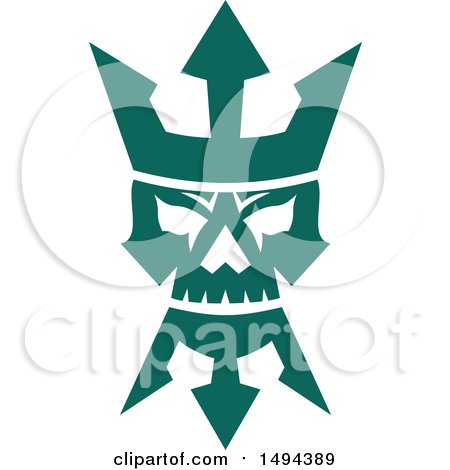 Clipart of a Teal Neptune Skull with a Trident Crown and Beard - Royalty Free Vector Illustration by patrimonio