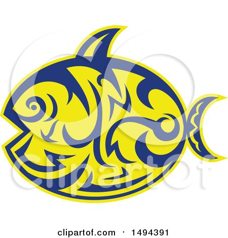 Clipart of a Tribal Styled Sunfish Common Mola - Royalty Free Vector Illustration by patrimonio