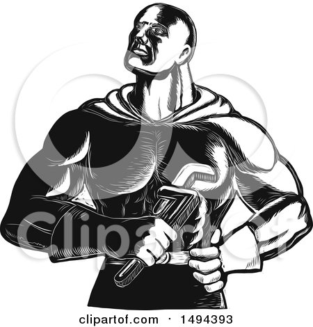 Clipart of a Super Plumber Holding a Monkey Wrench - Royalty Free Vector Illustration by patrimonio