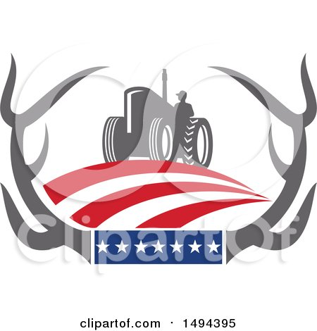 Clipart of a Farmer Operating a Tractor in Whitetail Deer Antlers with American Stars and Stripes - Royalty Free Vector Illustration by patrimonio