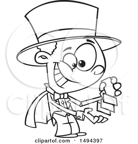Clipart of a Cartoon Black and White African American Magician Boy Performing a Card Trick - Royalty Free Vector Illustration by toonaday