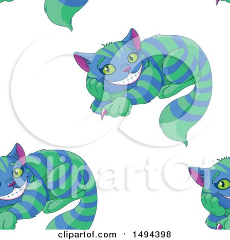 Clipart of a Seamless Pattern of Grinning Cheshire Cats - Royalty Free Vector Illustration by Pushkin
