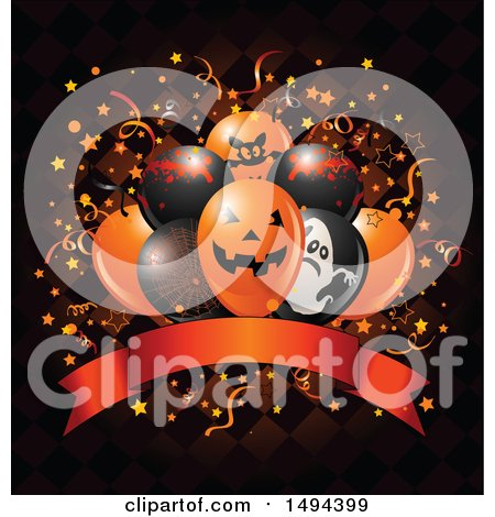 Clipart of a Halloween Party Balloon Bouquet over a Banner and Checkers with Confetti - Royalty Free Vector Illustration by Pushkin