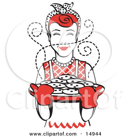 Red Haired Housewife Wearing An Apron And Oven Gloves, Smelling Fresh, Hot Chocolate Chip Cookies Right Out Of The Oven Clipart Illustration by Andy Nortnik