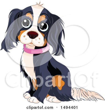 Clipart of a Cute Spaniel Dog Sitting and Wearing a Pink Collar - Royalty Free Vector Illustration by Pushkin