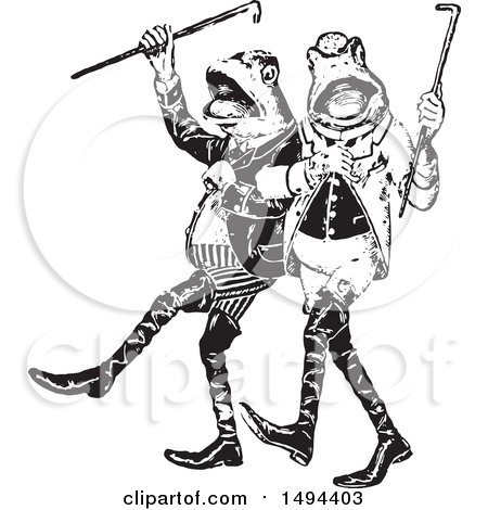 Clipart of Black and White Gentlemen Frogs Marching or Dancing - Royalty Free Vector Illustration by Prawny Vintage