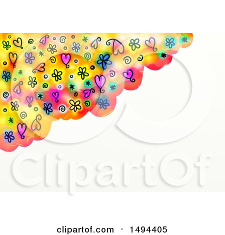 Clipart of a Watercolor Border with Doodled Hearts and Flowers, on a White Background - Royalty Free Illustration by Prawny
