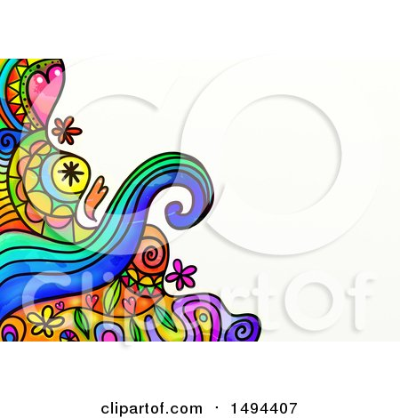 Clipart of a Doodle Watercolor Design, on a White Background - Royalty Free Illustration by Prawny
