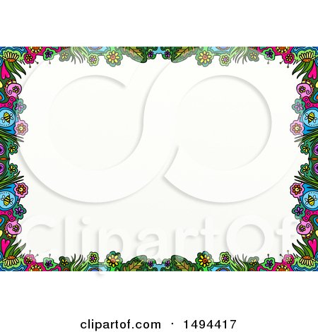 Clipart of a Doodled Border of Colorful Flowers, on a White Background - Royalty Free Illustration by Prawny