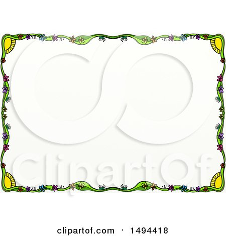 Clipart of a Doodled Border of Suns and Flowers, on a White Background - Royalty Free Illustration by Prawny