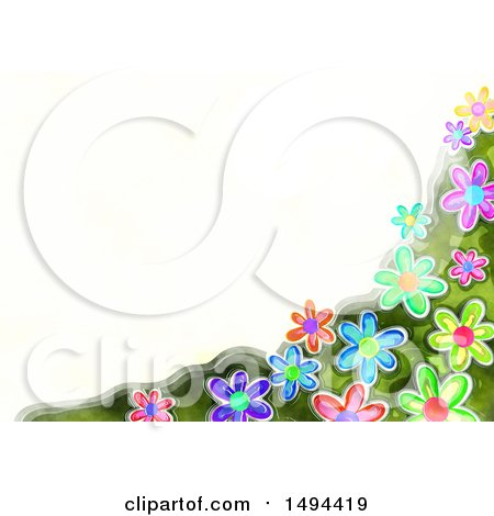 Clipart of a Watercolor Flower Border, on a White Background - Royalty Free Illustration by Prawny