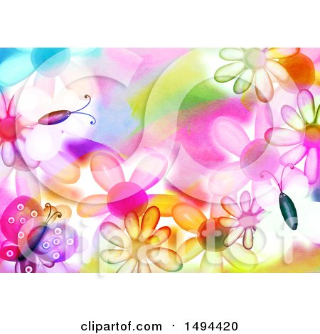 Clipart of a Watercolor Butterfly and Flower Background - Royalty Free Illustration by Prawny